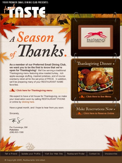 Restaurants Unlimited, Inc.: HTML Newsletters