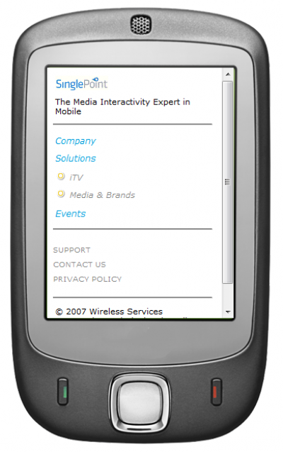 SinglePoint Mobile / WAP Site