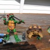 A younger Mr. / Ms. Torty Underbitty chilling out with Leonardo (NECA made throwback to original comic book figures)